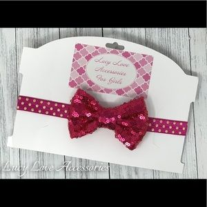 Handmade pink sparkly bow headband! Made to fit!